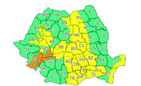 harta cu zonele afectate