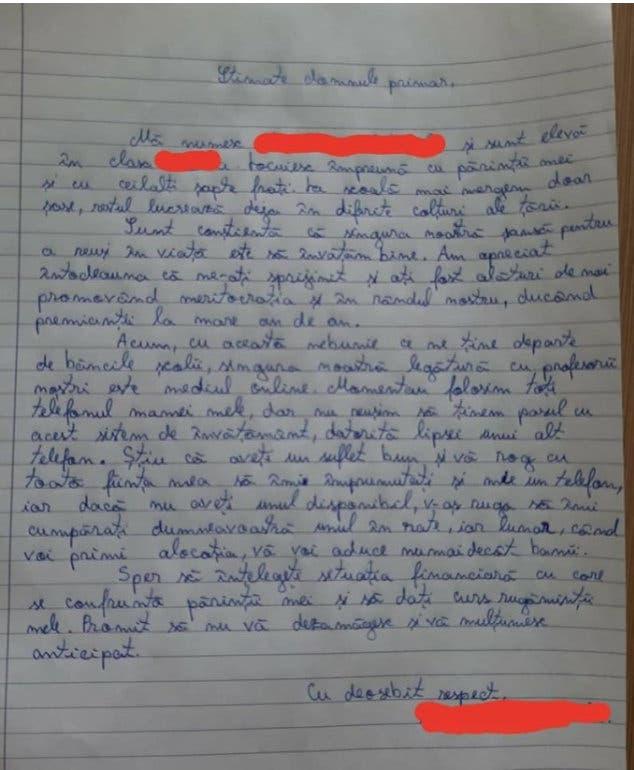 scrisoarea elevei