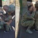 Emotionant! Reactia unei fetite care isi vede parintii, militari romani, dupa 6 luni.